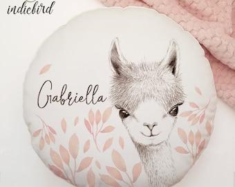 Personalised Llama cushion, round cushion, nursery cushion, baby gift, baby shower, keepsake.