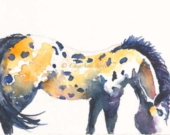 Watercolor Horse Study Appaloosa painting 2014 Year of the Horse Costilla New Mexico - equine art - watercolor 8x10 print