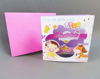 baby girl congratulations 3D card to ask