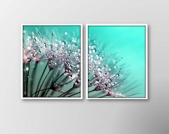 SALE Dandelion Wall Decor,Set of 2 Prints,Aqua Printable,Aqua Wall Decor,Aqua Dandelion Photo,Dewdrops,Dandelion Wall Art, 25% off