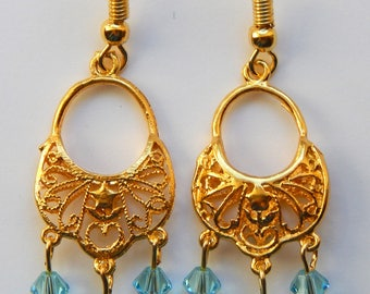 Gold Drops with Blue Swarovski Crystal Earrings