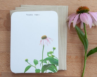 Echinacea Personalized Stationary Set - Stationery Set with Pink Flower, Note Cards Stationery