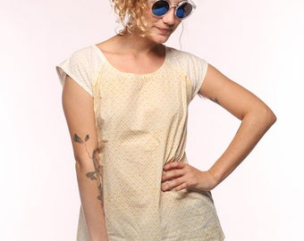 Yellow and White Sunshine Short Sleeve Top - Fair Trade and Eco Dyes
