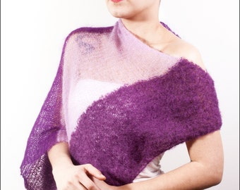 Purple Knit Poncho, Mohair Knit Poncho, Poncho Sweater, Oversized Wrap Shawl, Knitted Shoulder Wrap, Loose Knitting Shrug, Women's Knitwear