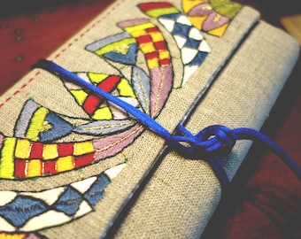 "Book cover, hand embroidery on linen ""opening"""