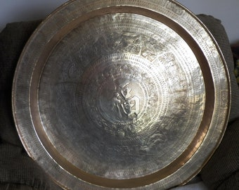 """30 """" Solid Brass Decorated Tray / Wall Hanging"""