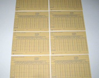 Vintage Yellow and Blue Weekly Time Report Cards Set of 8