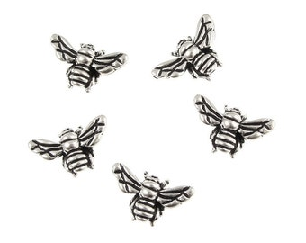 Silver Honeybee Beads - 15mm x 11mm Antique Silver Beads - TierraCast Pewter Honey Bee Beads - Silver Metal Beads (P129)