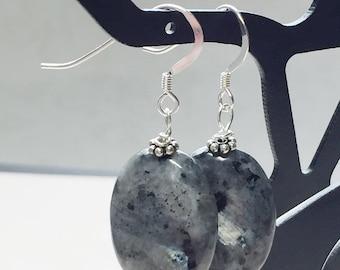 Larkivite Earrings- Black Labradorite- gemstone earrings- Sundance Style- Gray earrings- silver earrings- simple jewelry- minimalist