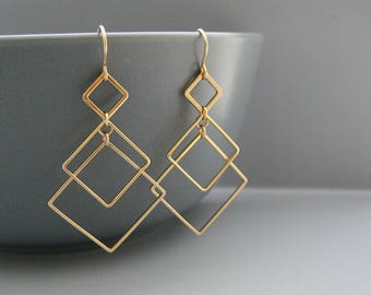 Gold Art Deco Earrings - 3 square modern minimalist architectural jewelry, math teacher gifts - Triple