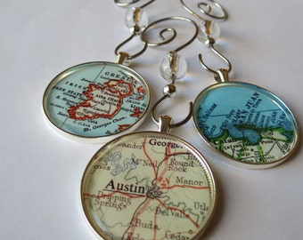 Map Christmas Ornaments Set, 3 Large Custom Ornaments, Customized Map Locations, Personalized Home Décor, Wedding Ornament, Girlfriend Gift