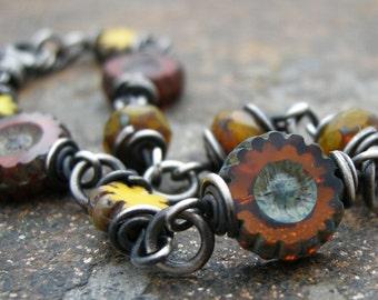 czech glass bracelet, fall color bracelet, pumkin orange, rust, yellow, fall jewelry, autumn jewelry,wrapped bracelet, glass bead bracelet