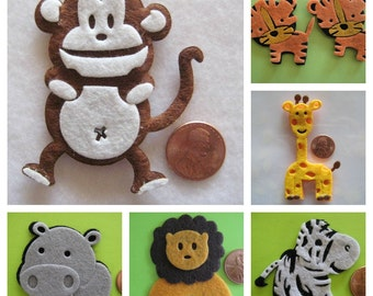 Assorted Felt Animal Ornaments Monkey, Giraffe, Tiger, Lion, Hippo and Zebra for Safari / Jungle Themed, Christening Party Favors, 6 pieces