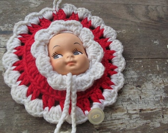 Vintage Crocheted Pixie head, probably from the 50s, christmas