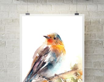 Robin Bird Art Print, Bird watercolor painting print, Bird Art, Bird wall art print