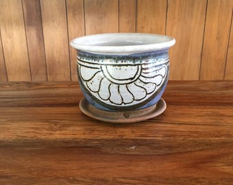 Midcentury Studio Pottery Stoneware Signed 70's Planter