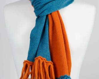 Orange and Teal 2 colour Lambswool Scarf