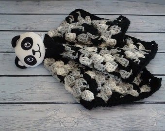 Panda Baby Lovey Blanket, Baby Lovey Blanket, Black White Baby Lovey Blanket, Baby Security Blanket, Gift For Baby, Baby Shower Gift,
