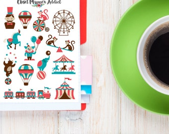 Fun Time At The Circus Planner Stickers | Circus Stickers | Carousel Stickers (S-191)