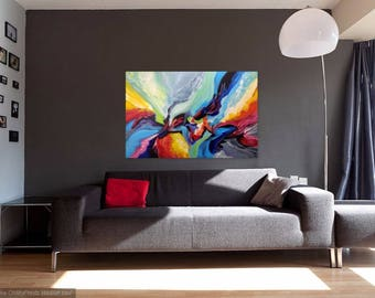 Colorful Abstract Painting, Large Original Acrylic Wall Art Canvas, Blue Red Painting, Modern Contemporary Art, Impasto Colorful Art Canvas