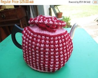 ON SALE Vintage Tea Cozy - Pink, Purple Stripes - Hat on top - Vintage Style for your teapot.