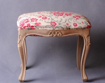 Shabby chic french bench, french, piano bench, Ottoman art deco / pouf stool/vintage/gift for her french furniture/wood seat