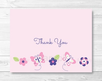 Pink Butterfly Thank You Card Folded Template PRINTABLE Instant Download A248