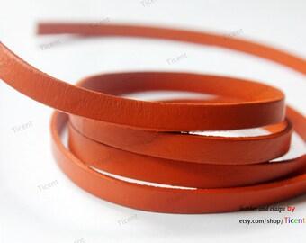 8mmx2mm Orange Flat Leather, 8mm Genuine Cow Hide Leather Strip GF8M-15