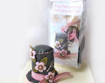 Make Your Own Felt Pincushion DIY Craft Kit, Hat Pincushion Sewing Craft Kit, Sew Your Own Pincushion Making Kit, Dressmaker Gift
