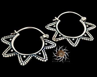 Silver Earrings - Silver Hoops - Gypsy Earrings - Tribal Earrings - Ethnic Earrings - Indian Earrings - Ttibal Hoops - Indian Hoops (ES66)