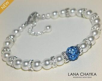 White Pearl Blue Crystal Bridal Bracelet Swarovski White Pearl Wedding Bracelet White Light Blue Bridal Bracelet Wedding White Pearl Jewelry