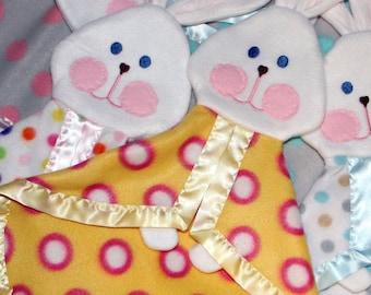 Polka Dot Replica Fisher Price Bunny Baby Blanket, Puppet, Photo Prop