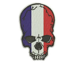French skull embroidery design