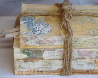 Unique Decorative Books, Vintage Book Bundle, Map Decor, Old Book Decor, Rustic Book Stack