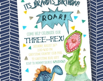 Three-Rex Birthday Invitation