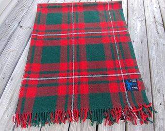 Vintage Wool Blanket Arvic Scotland Red Tartan Plaid