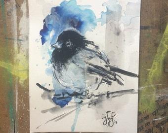 "Black and Blue Bird, Original Watercolor Painting 9x12"""