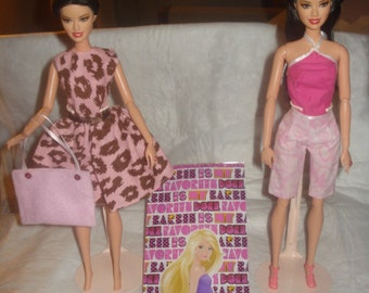 OVERSTOCK SALE - 2 outfits, 1 purse, 1 pair of shoes and a gift bag for Fashion Dolls - BGS13