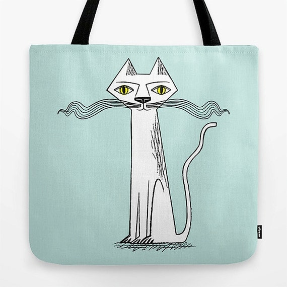 """The Cat's Whiskers - light green - illustrated Tote Bag (18"""" x 18"""") by Oliver Lake - iOTA iLLUSTRATiON"""