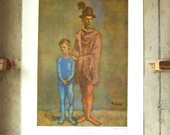 Two Harlequins Vintage Art Print of Picasso Painting 1950s Bookplate Reproduction