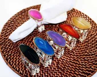 Agate Napkin Rings- Set of Four