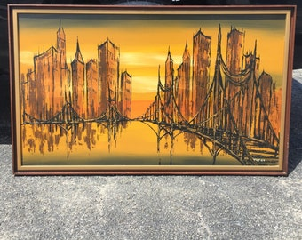 Drip painting / Mid Century Art / Cityscape / Signed by artist Victor