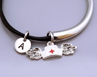 Nurse hat bangle, Nurse hat bracelet, Nurse hat with wings, Nurse's cap charm, Nurse's hat charm , Leather bracelet, Leather bangle