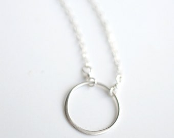 Silver Circle Necklace - Minimal Circle Necklace - Everyday Necklace - Everyday Circle Jewelry - Simple Circle Jewelry - Layering Necklace