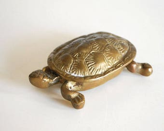 Brass Turtle Box, Metal Turtle Figurine, Animal Trinket Box, Vintage Ring Box, Incense Burner, Feng Shui Statue, Asian Decor, Small Ashtray