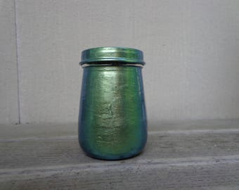 Metallic Green Dragon Paint Stash Jar One of a Kind Handpainted Upcycled Glass Nug Jug