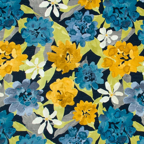Navy Blue and Yellow Floral Upholstery Fabric Modern Blue