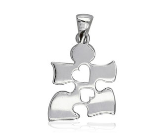 Small Autism Awareness Puzzle Piece Charm with 2 Open Hearts in Sterling Silver 15mm