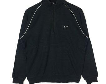Rare!! NIKE Sweatshirt Small Logo Half Zipper Black Colour Large Size