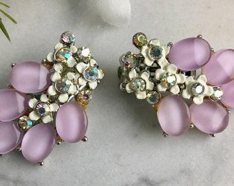 B.S.K. Signed Vintage Clip On Earrings, pink / lavender lucite, AB rhinestones, floral, 1950's